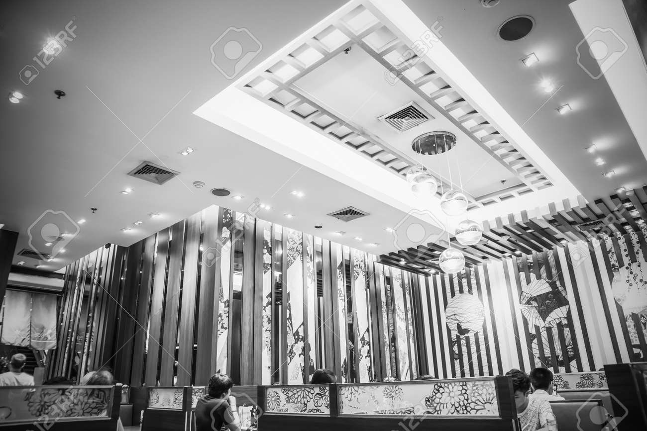 Interior decoration of japanese restaurant at major cineplex sukhumvit road bangkok thailand april 29