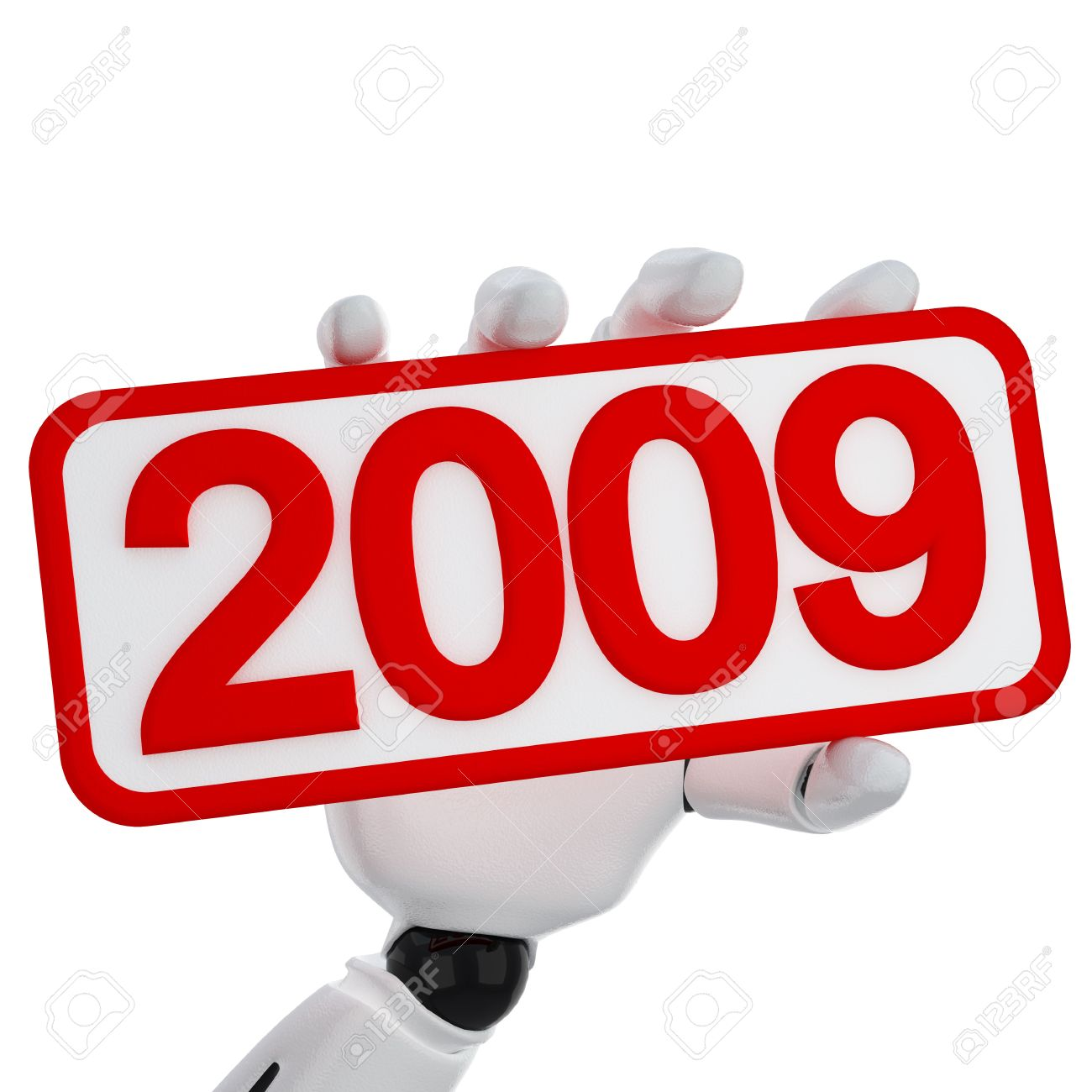 Stock Photo - The robotic hand hold a plate with 2009 number