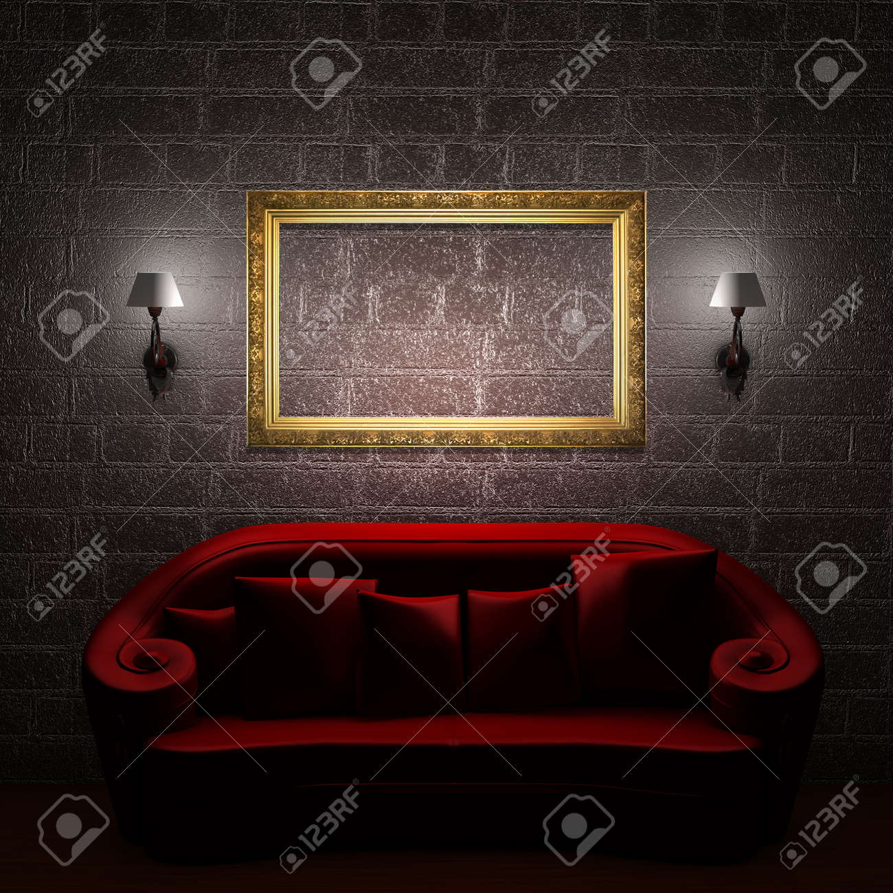 Red couch with empty frame and sconces in minimalist interior Stock Photo - 5566594