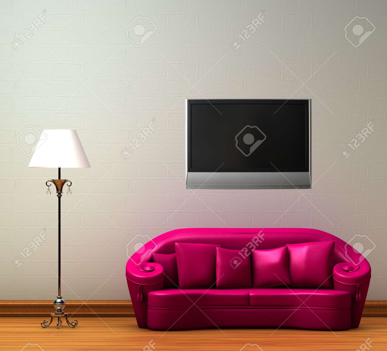 Pink couch with standard lamp with LCD tv on the wall in minimalist interior Stock Photo - 6464315