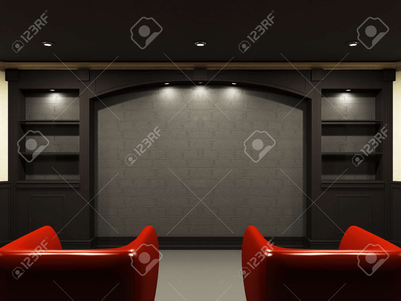 Red chairs in living room with emty place on the wall Stock Photo - 9578732