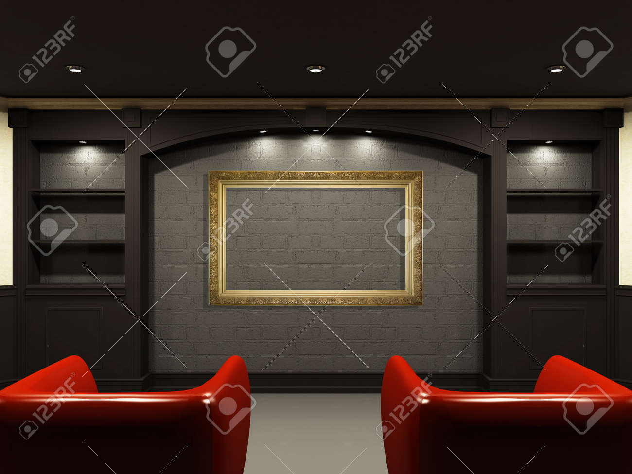 Red Chairs In Living Room With Emty Place On The Wall Stock Photo ...