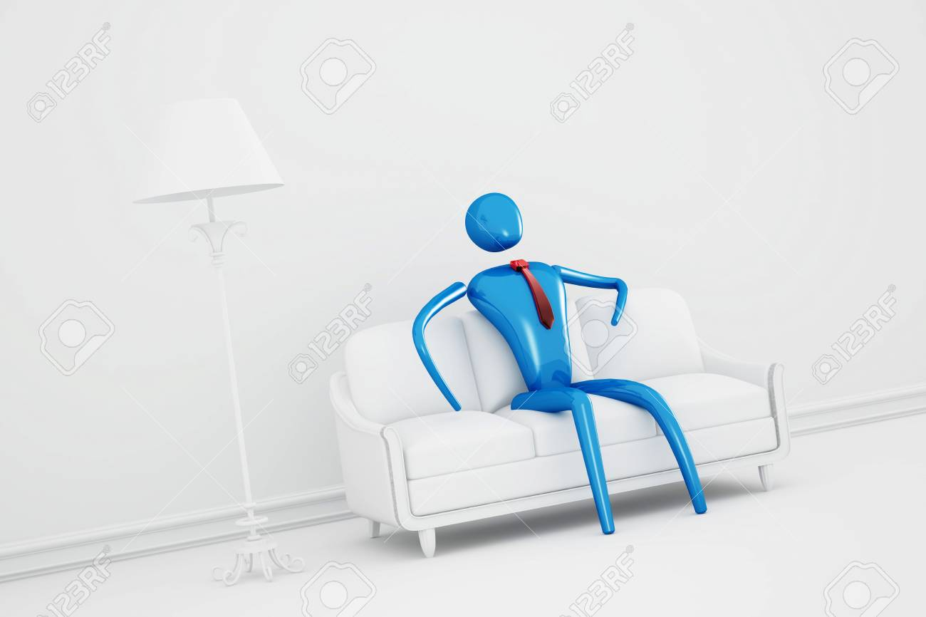 Person relaxing in clear white interior Stock Photo - 9578719