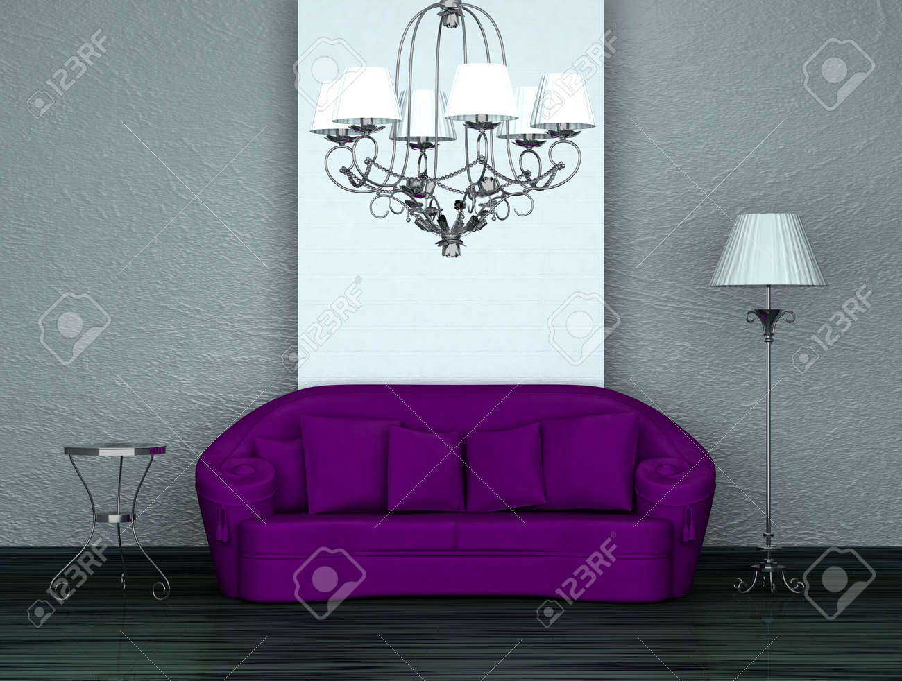 Super Purple Sofa With Table Stand Lamp And Luxury Chandelier In Minimalist Theyellowbook Wood Chair Design Ideas Theyellowbookinfo