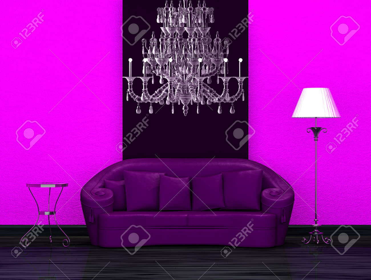 Purple sofa with table and stand lamp in dark minimalist interior