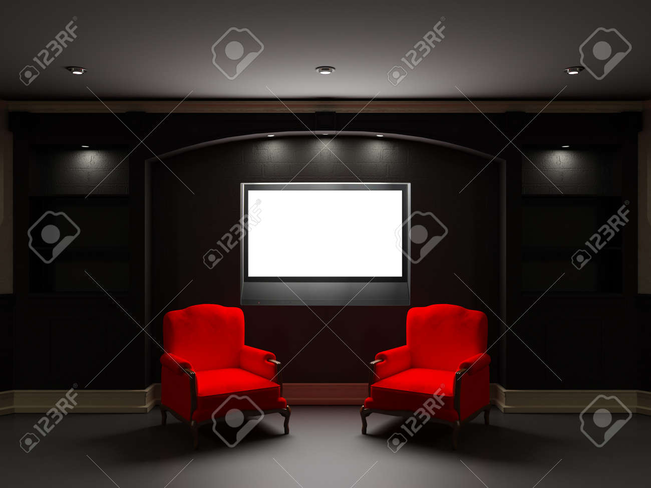 Red Chairs For Living Room Two Red Chairs With Lcd Tv In Dark Living Room Stock Photo