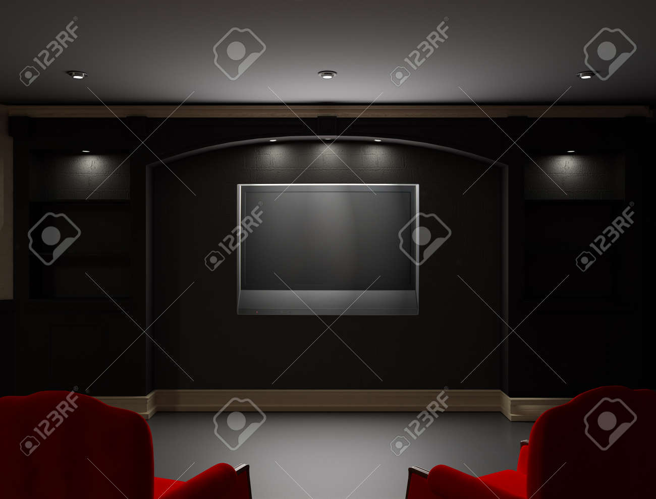 Two red chairs  in empty living room with LCD tv on the wall Stock Photo - 12420794