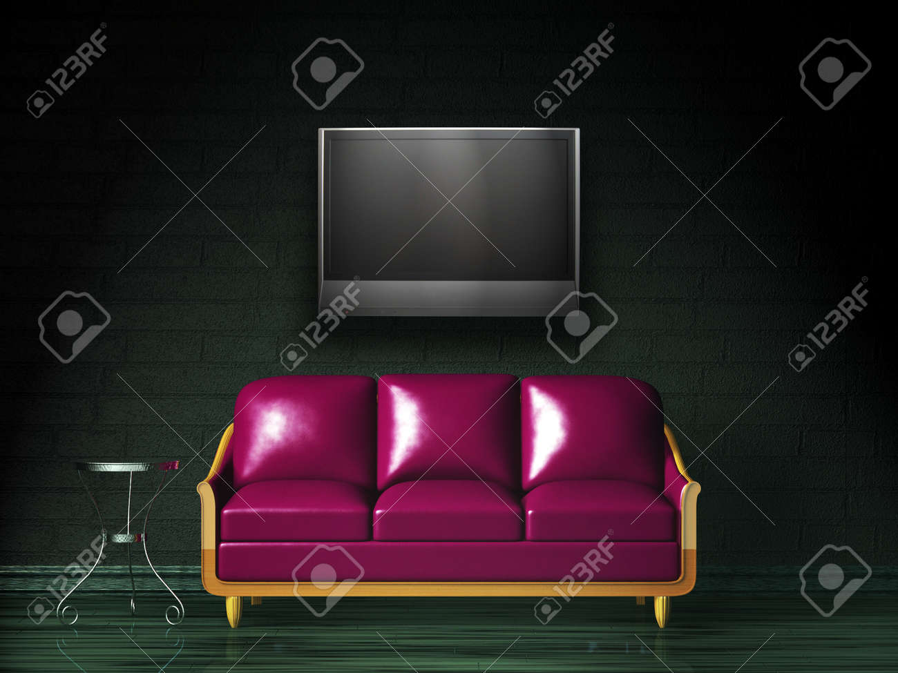 Purple sofa with table and LCD tv in the dark interior