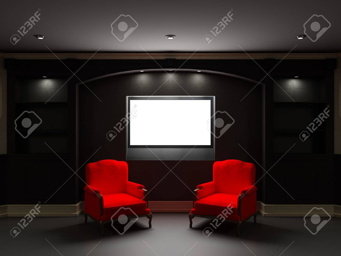 Two Red Chairs With LCD Tv In Dark Living Room Stock Photo, Picture ...