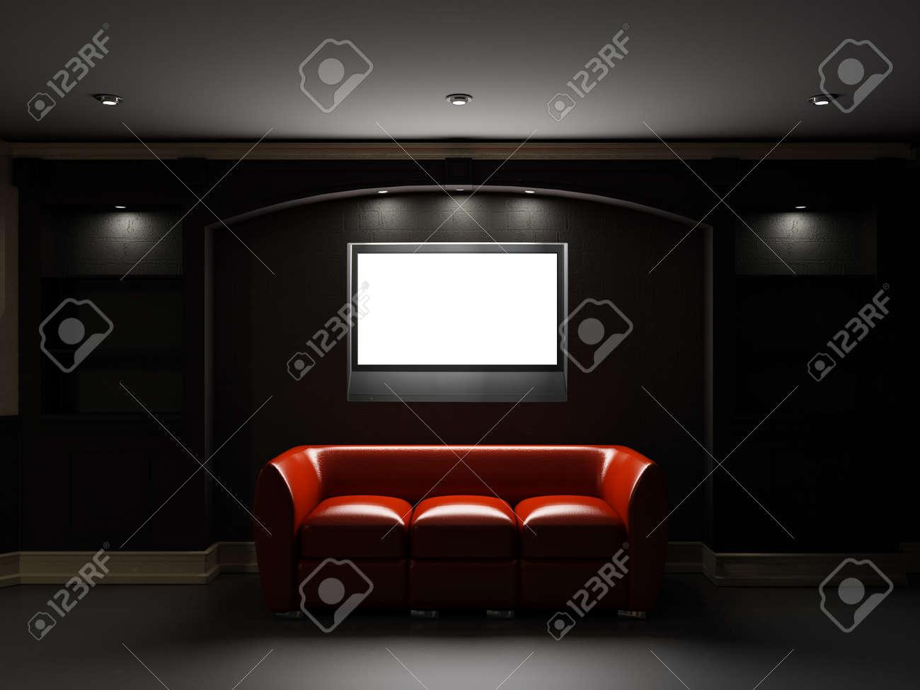 Sofá De Cuero Rojo Con TV LCD En El Cuarto Oscuro Fotos, Retratos ...