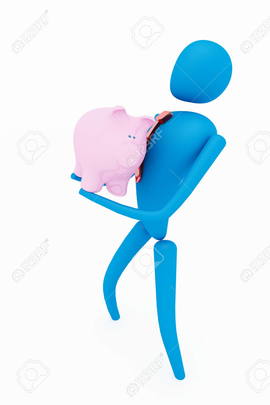 3d person holding piggy bank Stock Photo - 13235765