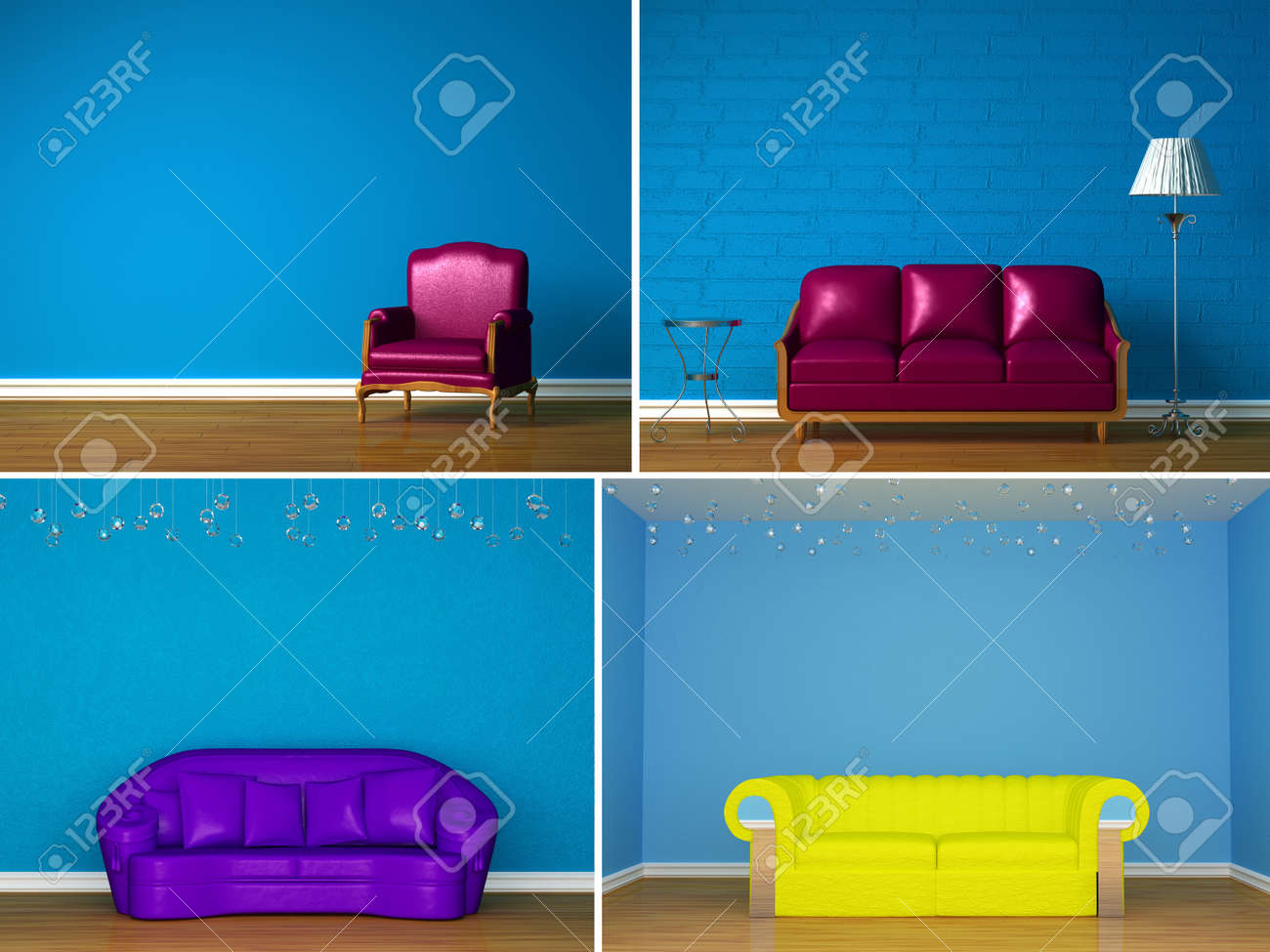 set of images of beautiful simple interiors stock photo, picture