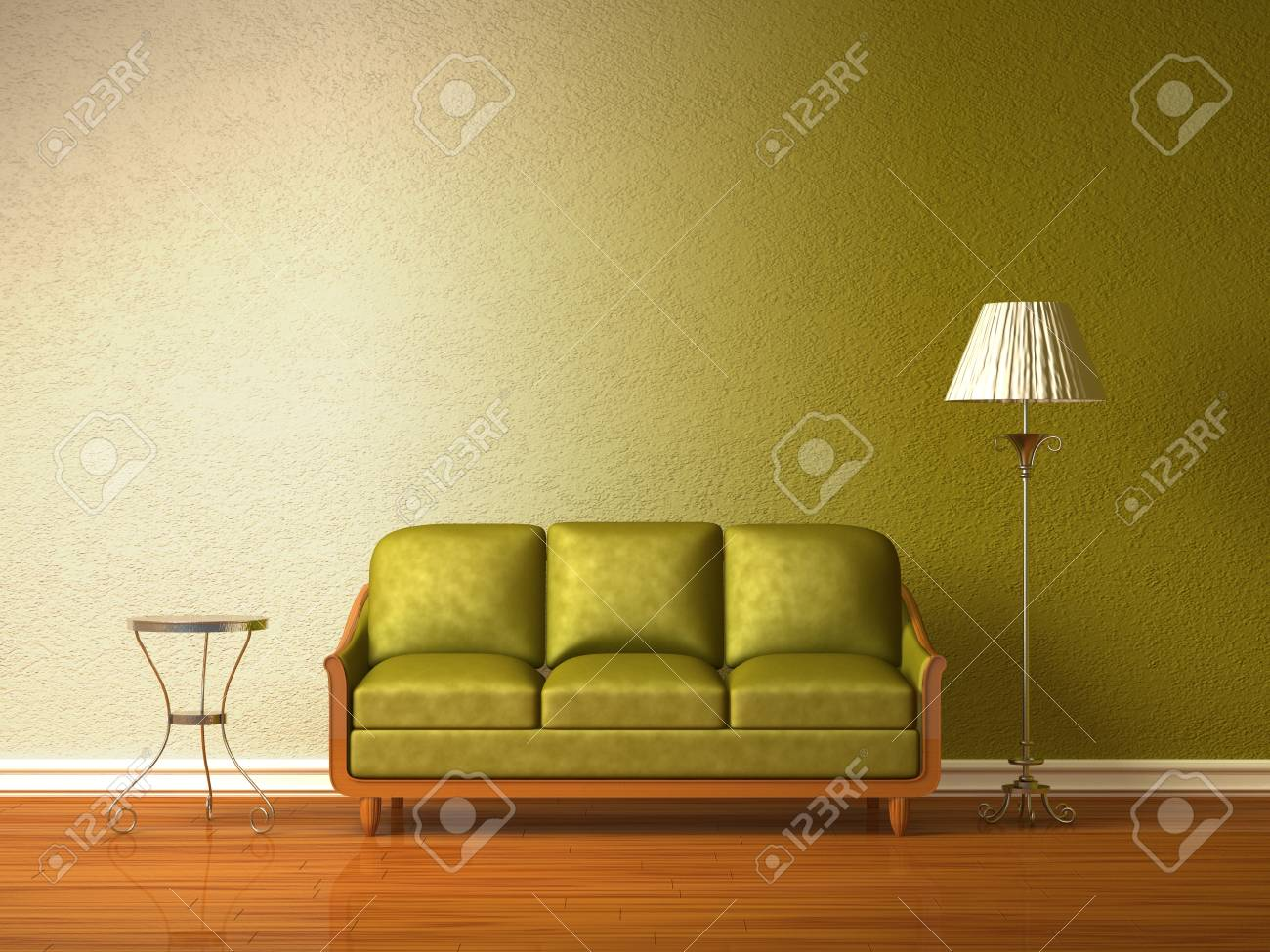 Olive couch with table and standard lamp in olive interior Stock Photo - 13101186