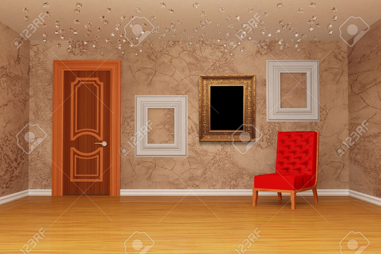Empty chair in room - Empty Room With Door Red Chair And Three Picture Frames Stock Photo 13214123