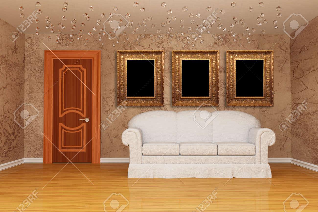 Minimalistische Wohnzimmer Mit Tür, Weißen Couch Und Drei ...