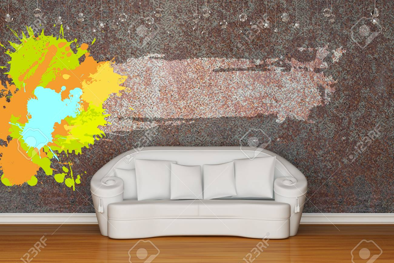 White sofa in rusty interior Stock Photo - 13140058