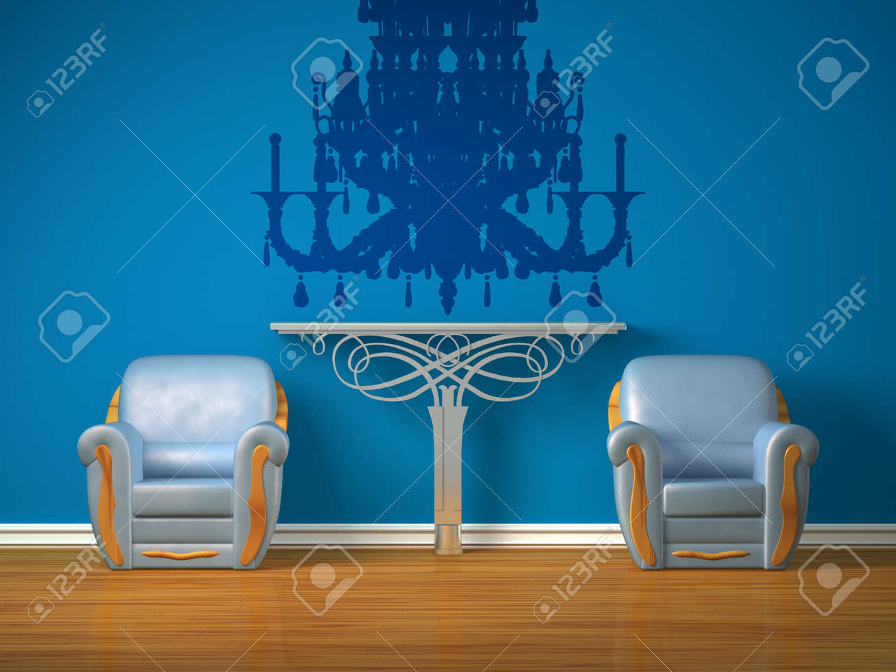 Two luxurious chairs with metallic console in minimalist interior Stock Photo - 13138558