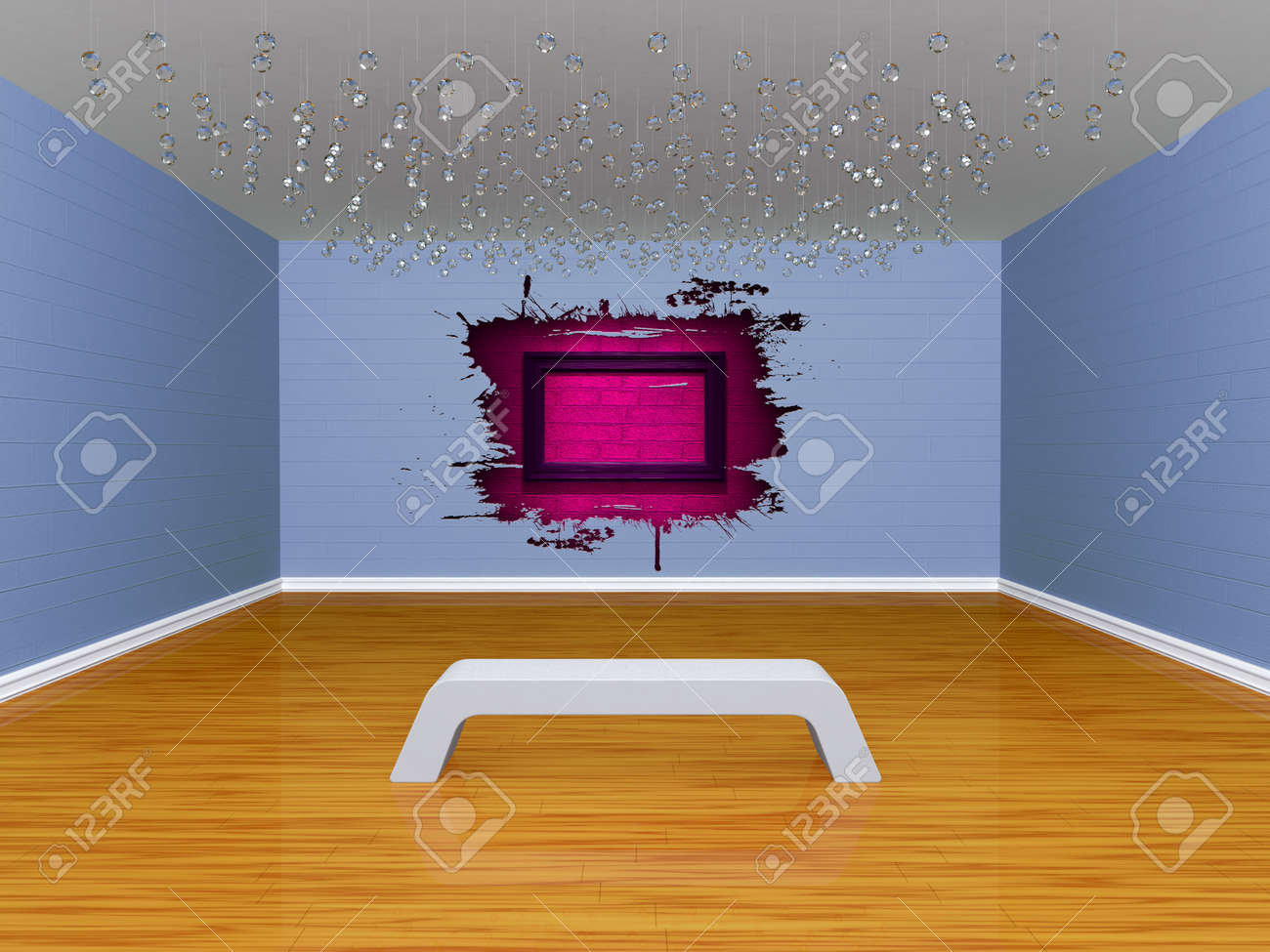 Gallery's hall with bench Stock Photo - 13172021