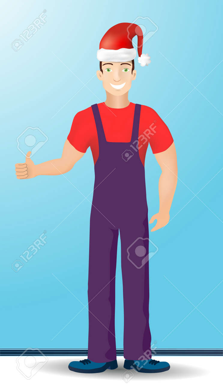 Foreman in Santa  hat Stock Vector - 13317732
