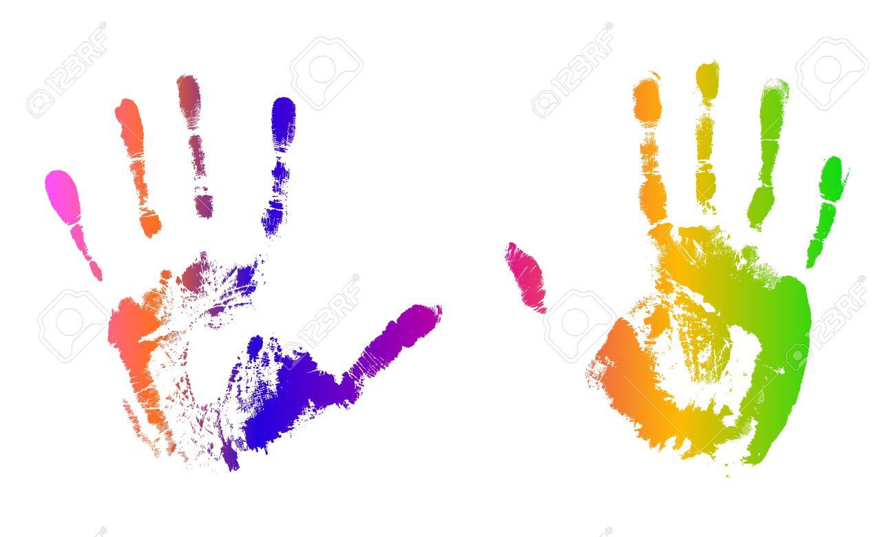 Multicolored hand prints Stock Vector - 13640020