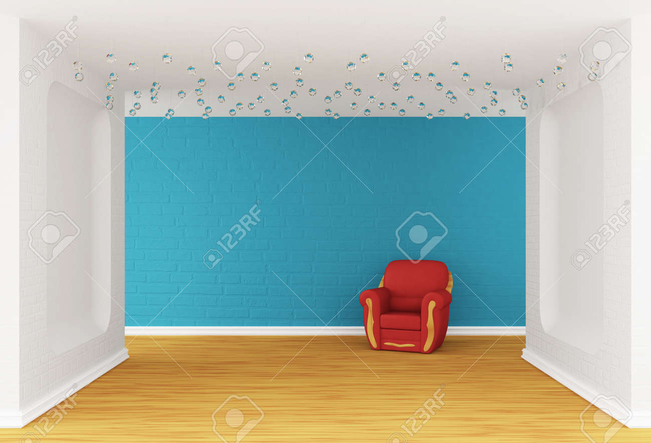 gallery's hall with red armchair Stock Photo - 13648040