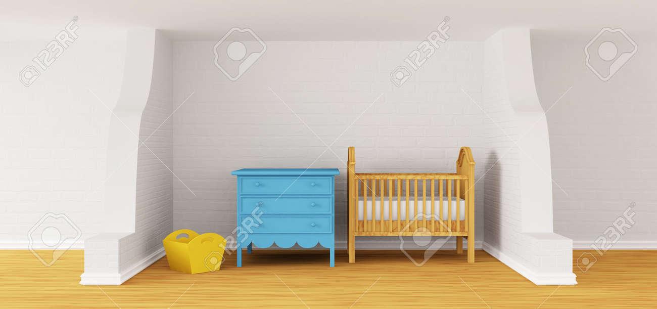 Camera da letto Bambino con un presepe.