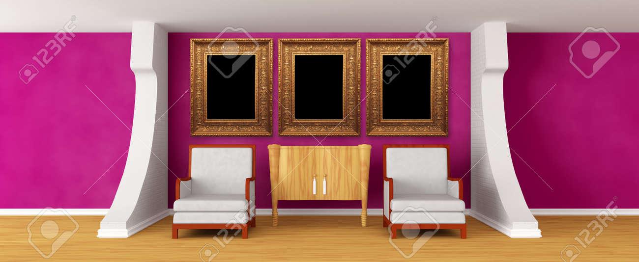 Galerie Der Halle Mit Stuhlen Und Kommode Mit Bilderrahmen
