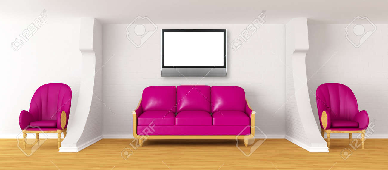 Living Room With Purple Couch, Lcd Tv And Chairs Stock Photo ...