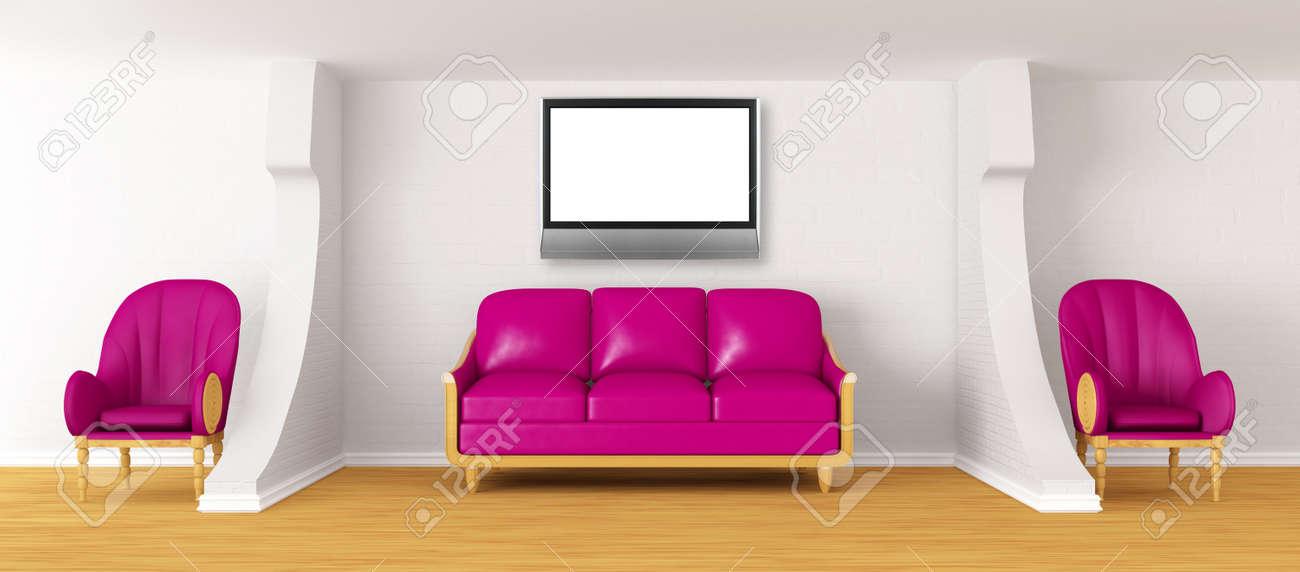 Wohnzimmer Mit Lila Couch Lcd Tv Und Stuhle Lizenzfreie Fotos