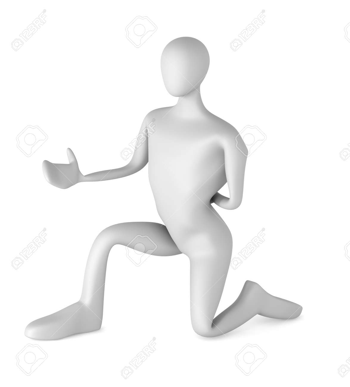 3d man on knees stretching out his arm Stock Photo - 13708671