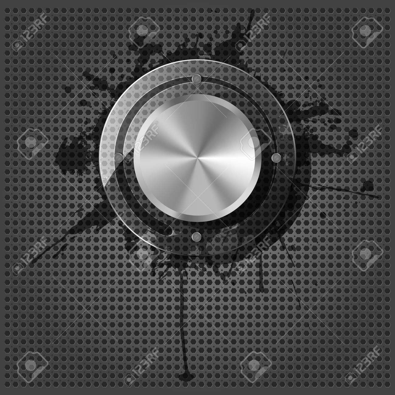 Chrome volume knob with splash on the metallic background Stock Vector - 14453501