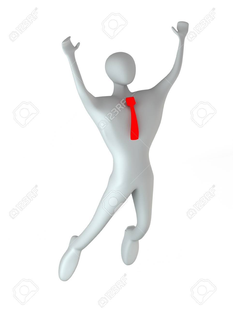 3d person happy jumping Stock Photo - 14524147