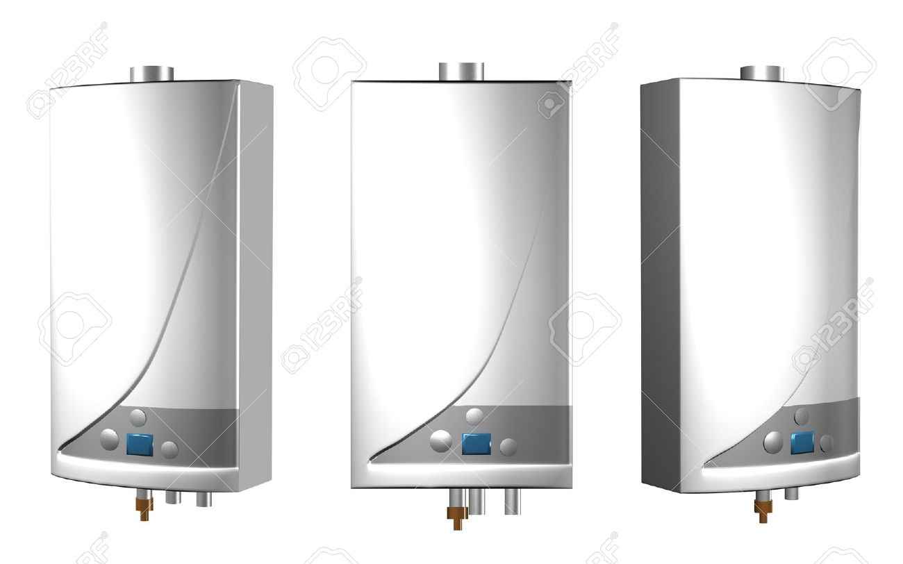 Gas Boilers Isolated On A White Background. Stock Photo, Picture And ...
