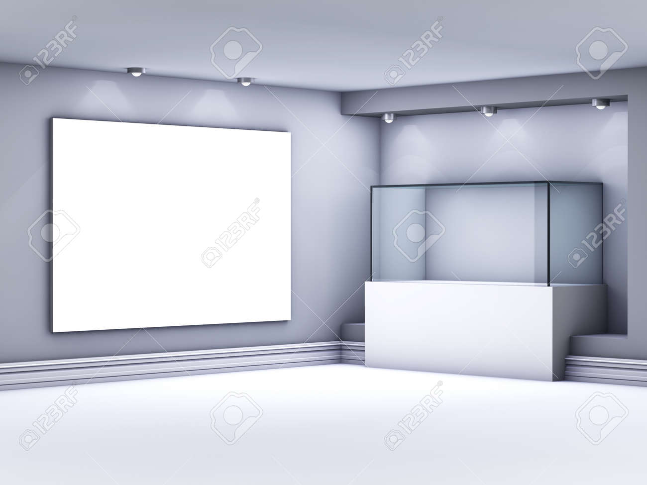 3d glass showcase and lightbox with spotlights for exhibit in