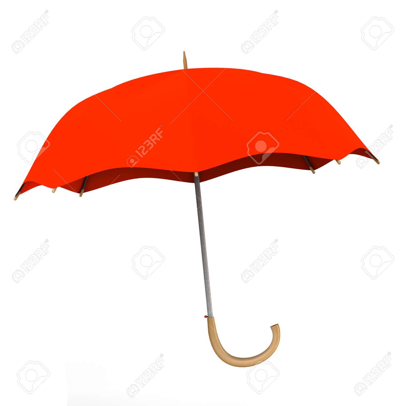 Red umbrella on white background Stock Photo - 14571494
