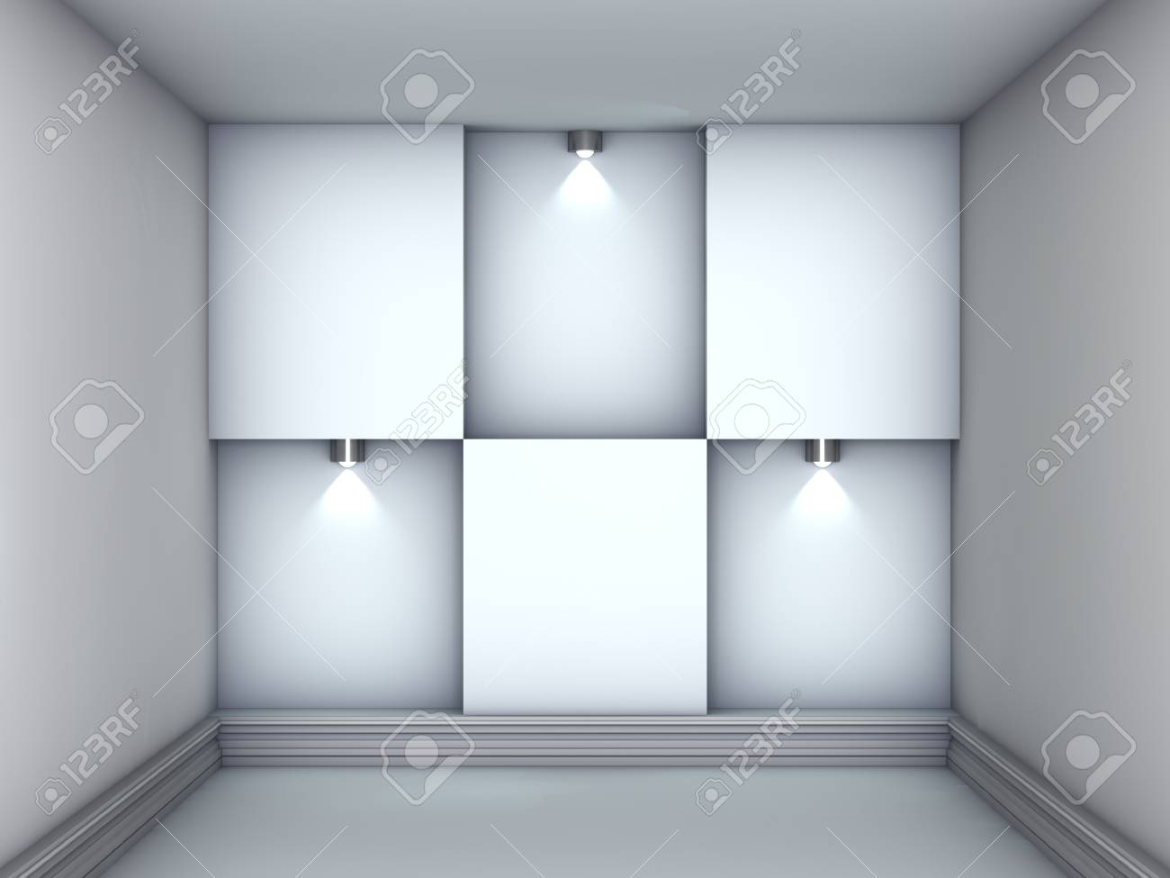 3d empty niches with spotlights for exhibit in the grey interior Stock Photo - 14652561