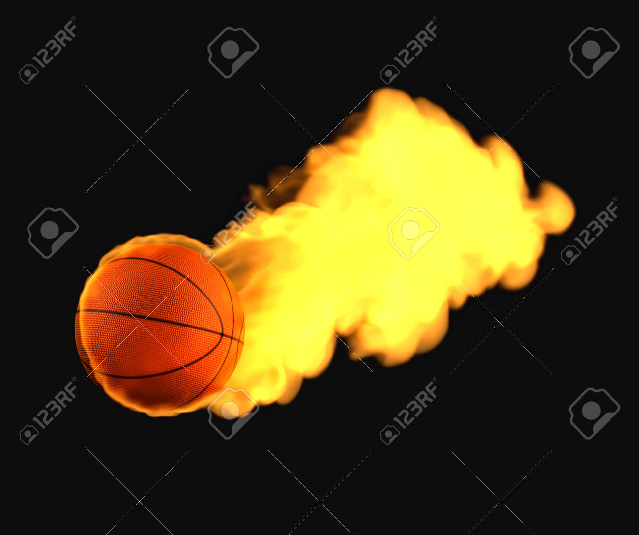 Flying basketball on fire - 14723180