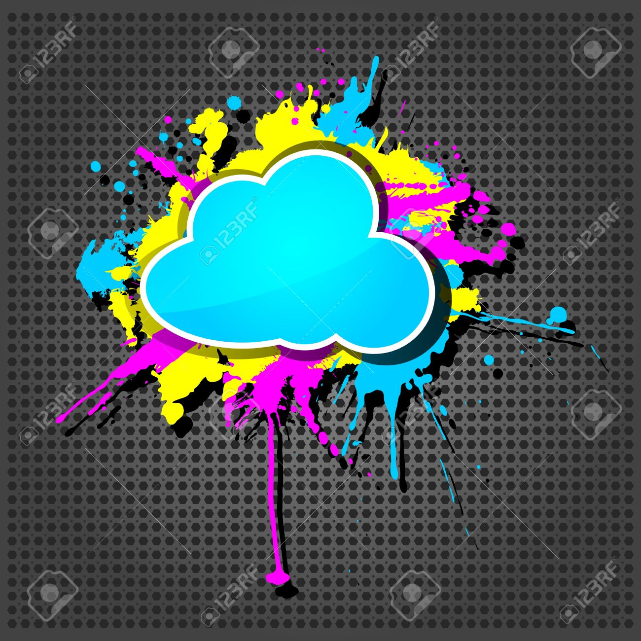 Cute  grunge cloud computing icon frame on the metallic background Stock Vector - 15125699