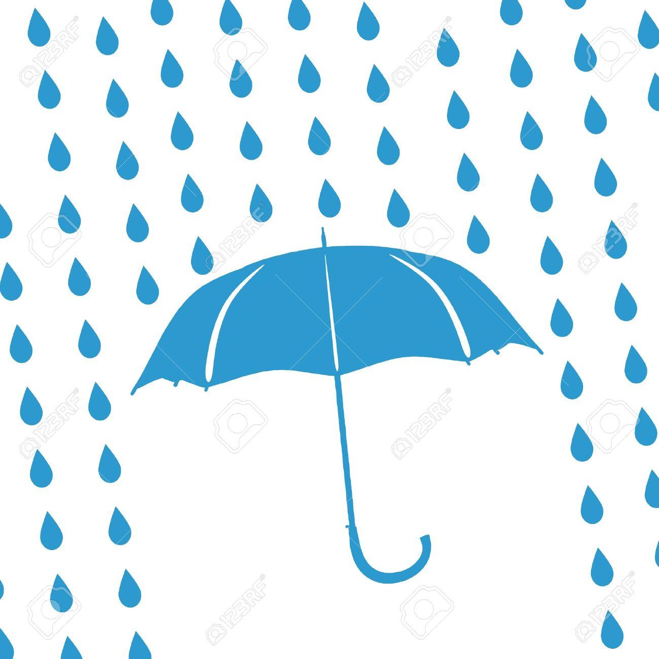 blue umbrella and rain drops - 15101167