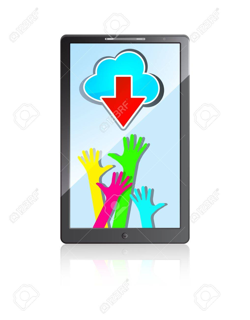 mobile phone with happy colorful hands, blue cloud  and red arrow on a white background Stock Vector - 15476509