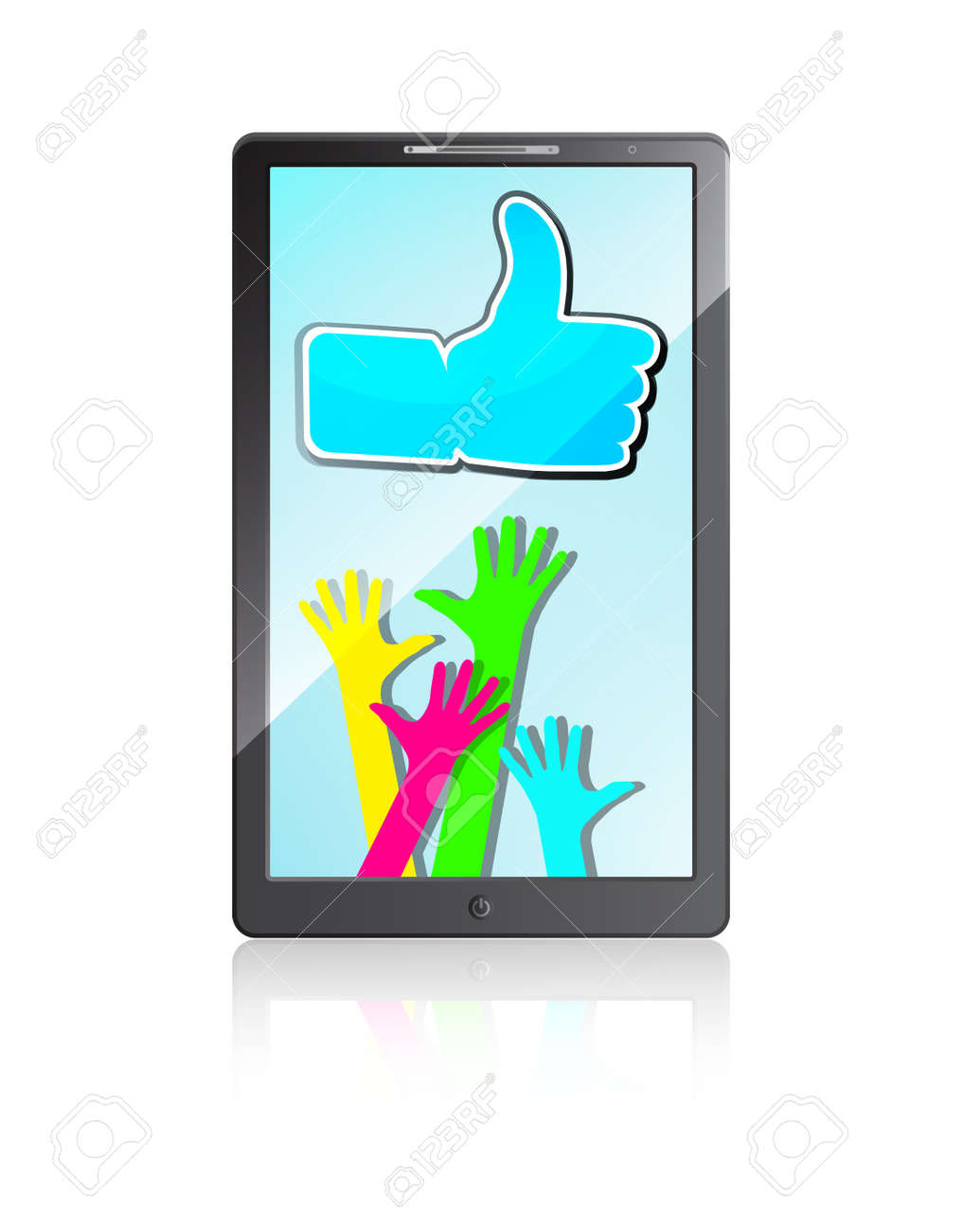 Mobile phone with Happy hands and