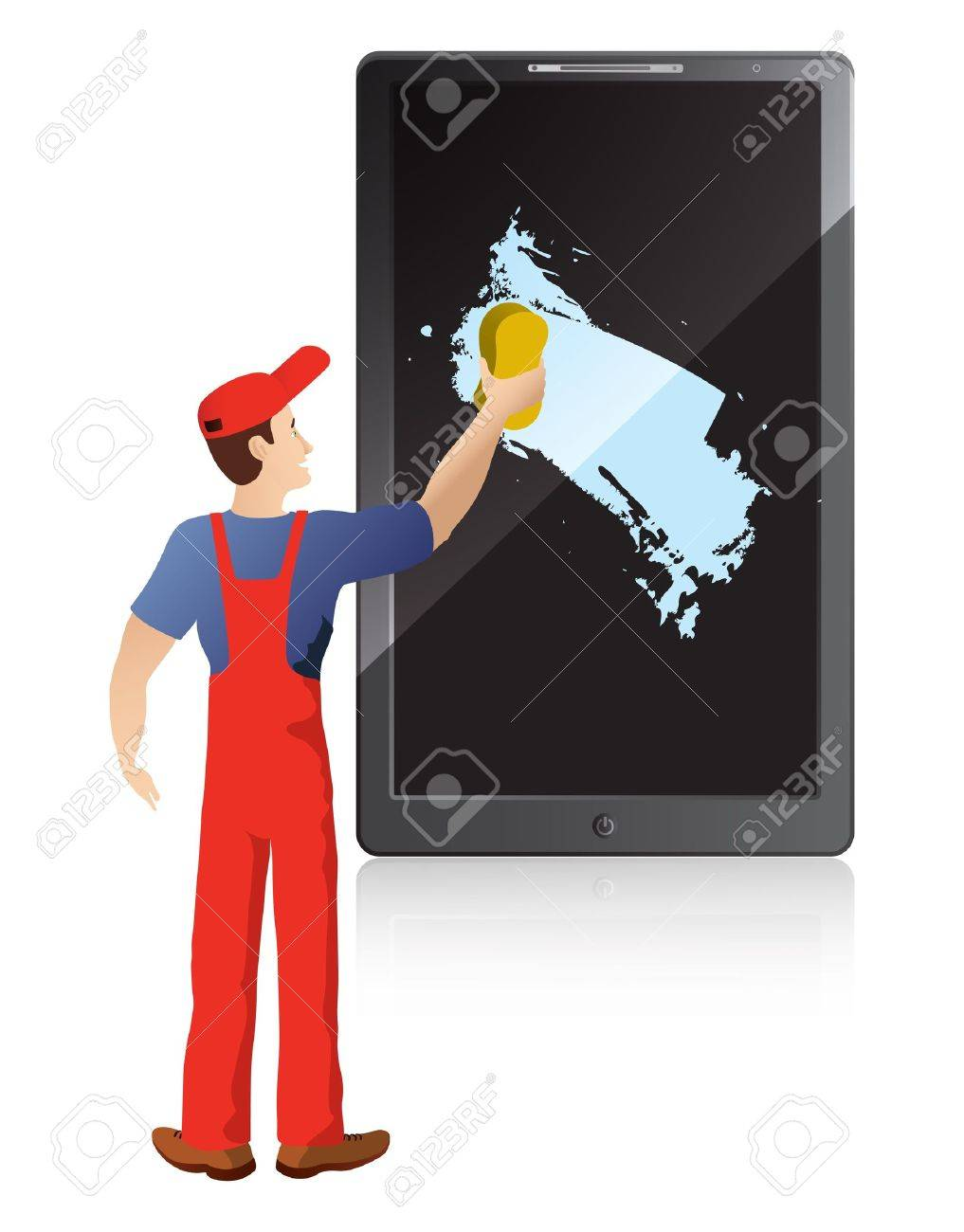 smart worker stock illustrations cliparts and royalty smart worker service worker washing screen of mobile phone