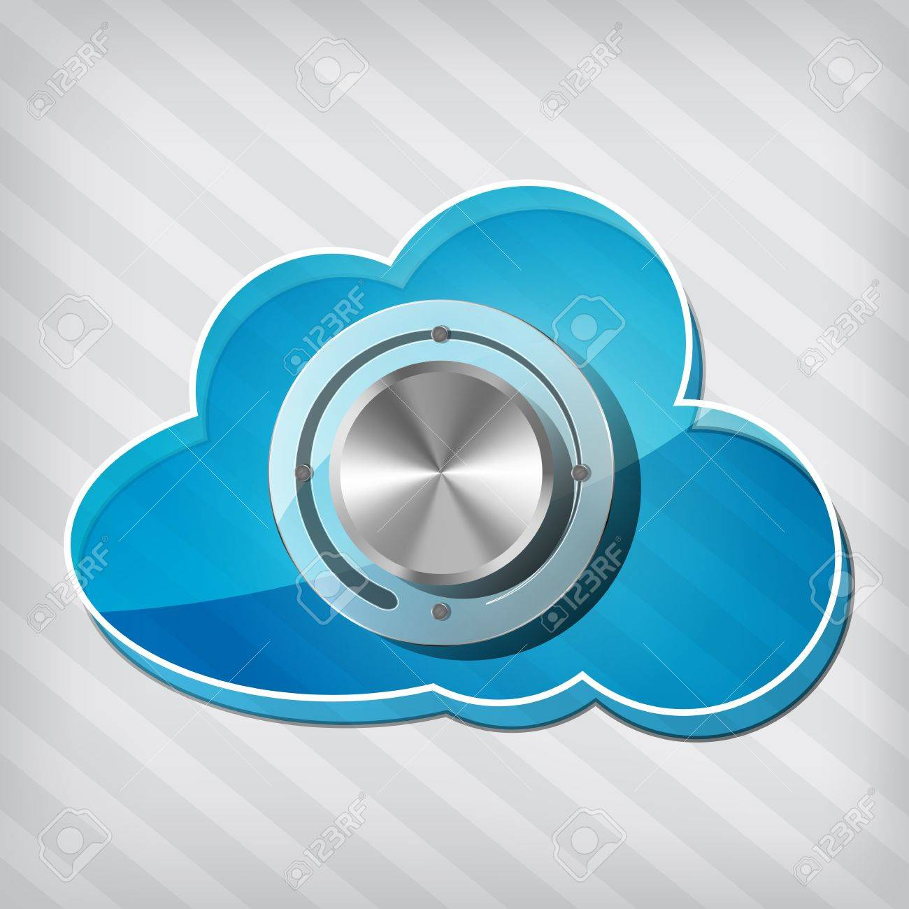 transparency blue cloud computing icon with chrome volume knob on a stripped background Stock Vector - 15476435