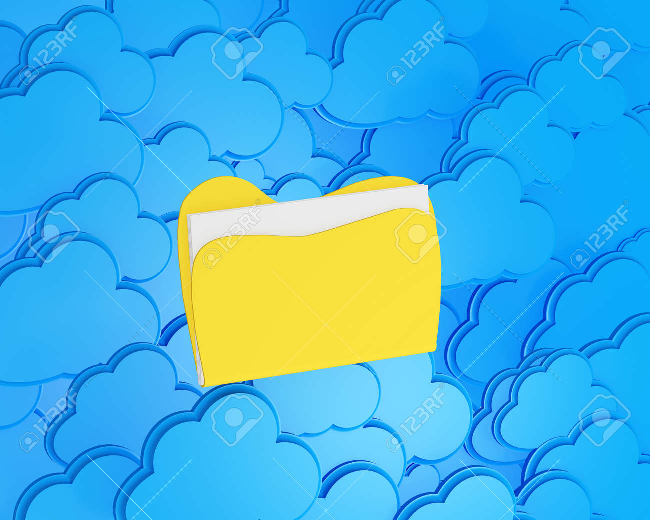 3d cloud computing with folder Stock Photo - 15476375