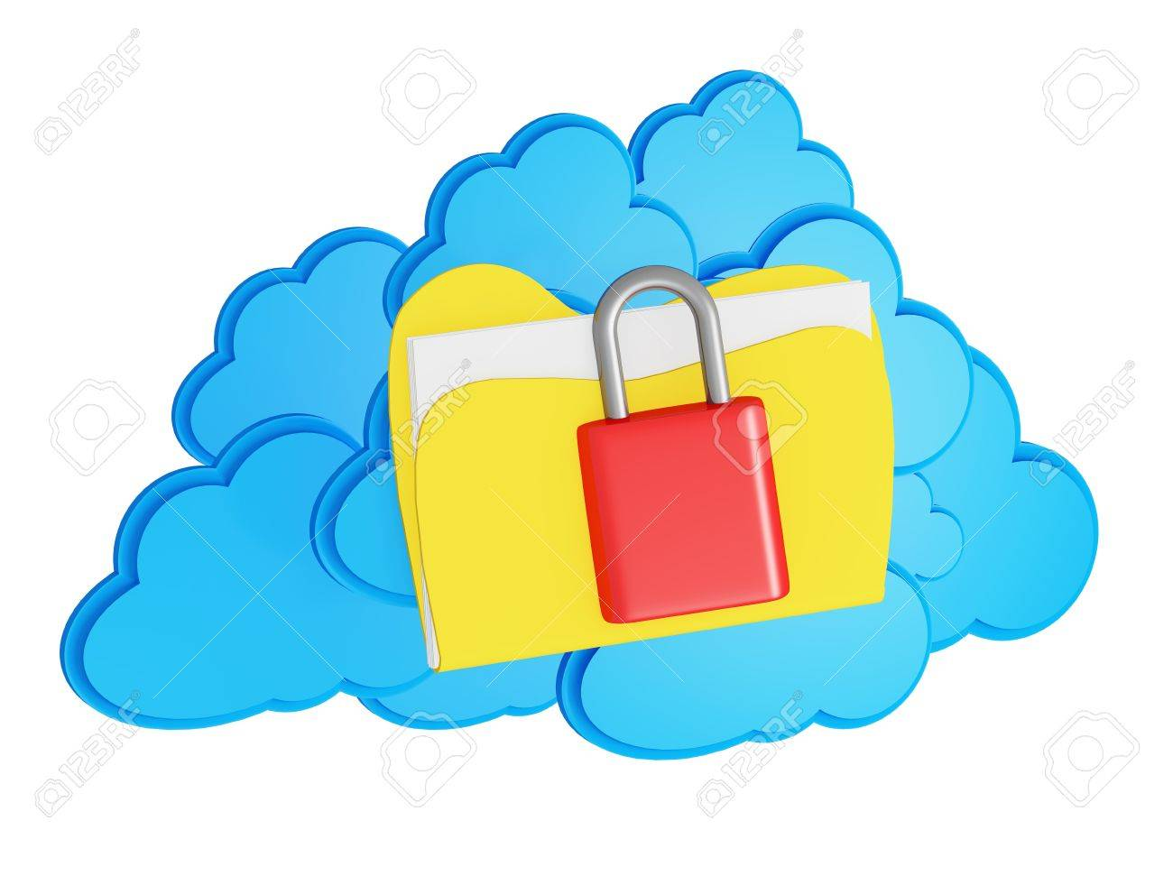 3d cloud computing security concept on a white background Stock Photo - 15476349
