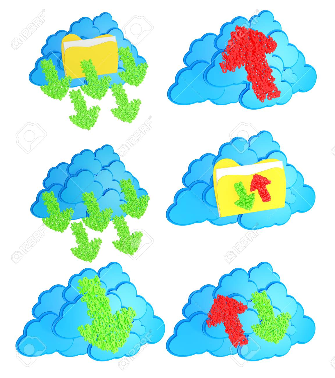 Upload and download arrows made from numbers with folders before blue cloud computing icon on white background Stock Photo - 15476844