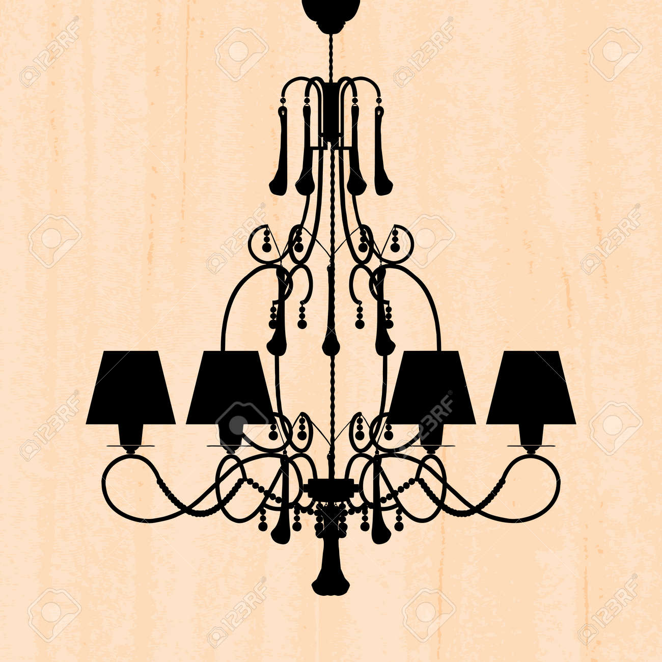 Silhouette of luxury chandelier on a scratched peachy wallpaper silhouette of luxury chandelier on a scratched peachy wallpaper template design of invitation with chandelier arubaitofo Image collections