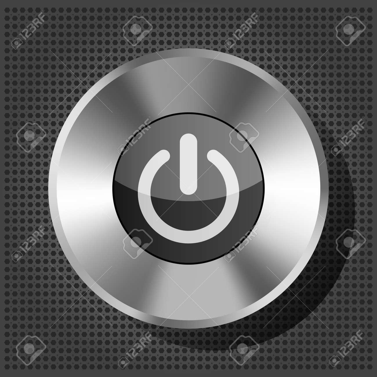 power button icon on the metallic background Stock Vector - 16132681