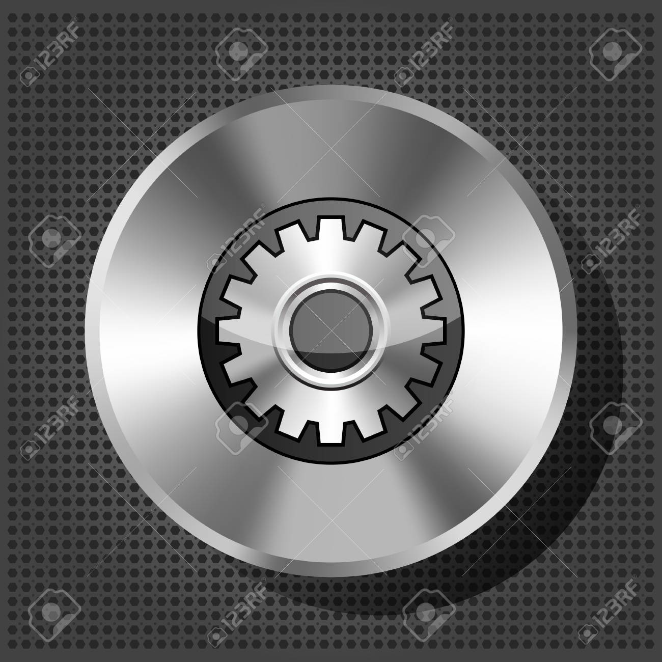 metallic icon with gear on knob on striped background Stock Vector - 16132684