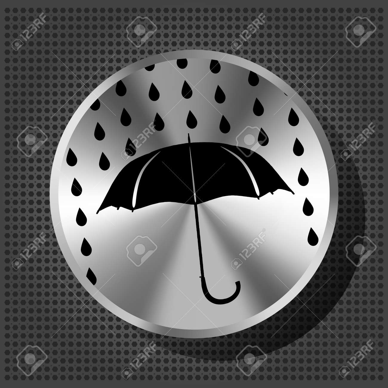 umbrella and rain drops with chrome volume knob on the metallic background Stock Vector - 16132727